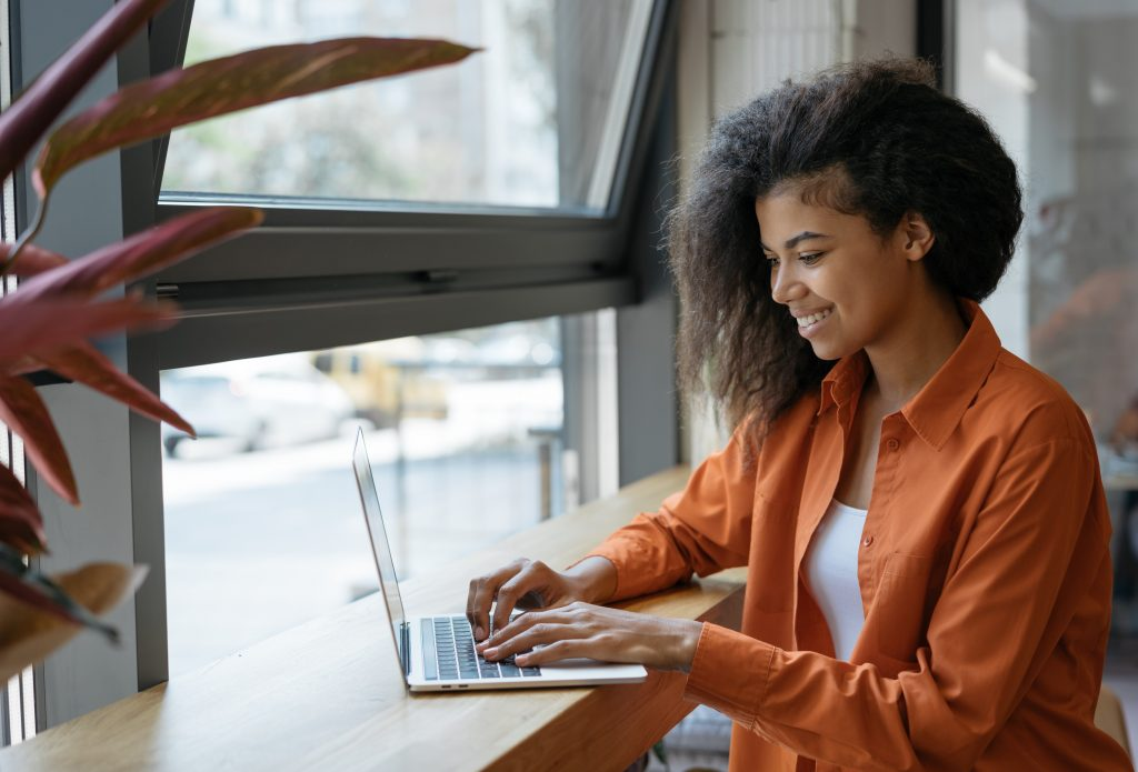 Woman doing remote work